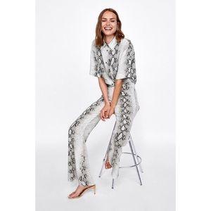 Zara snake print blouse and trouser set